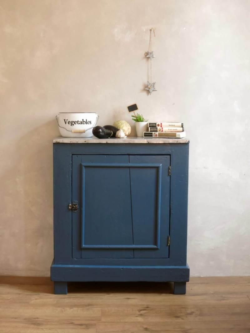 buffet parisien bleu bois, 1 porte, 1 étagère, buffet vintage, buffet rétro
