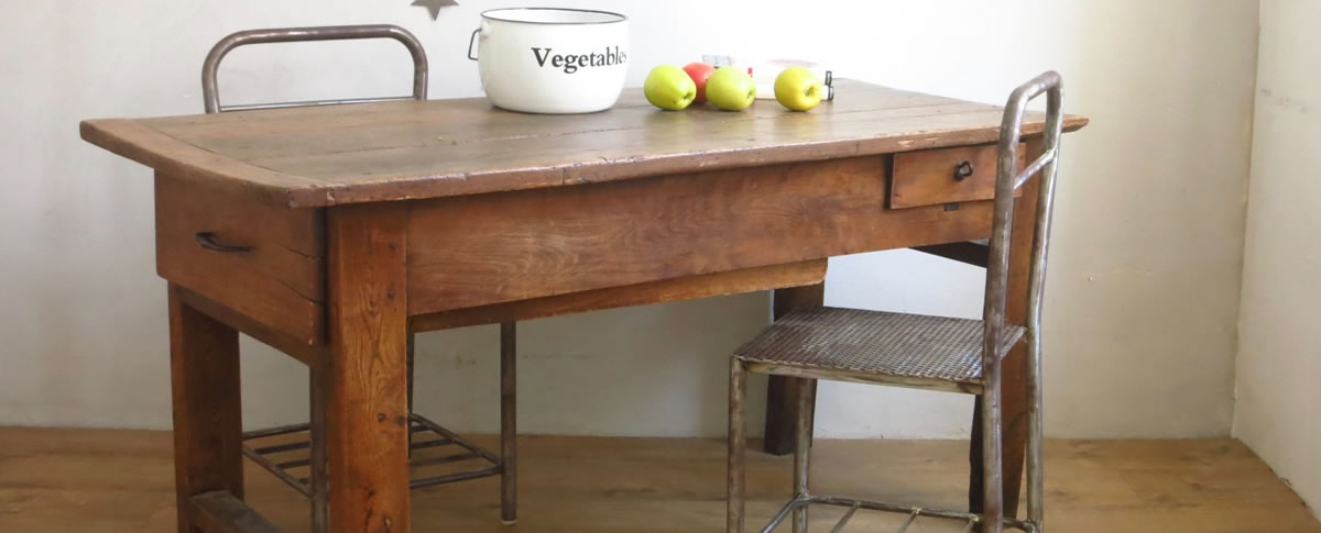 mobilier vintage, table de ferme, table de campagne, table campagnarde