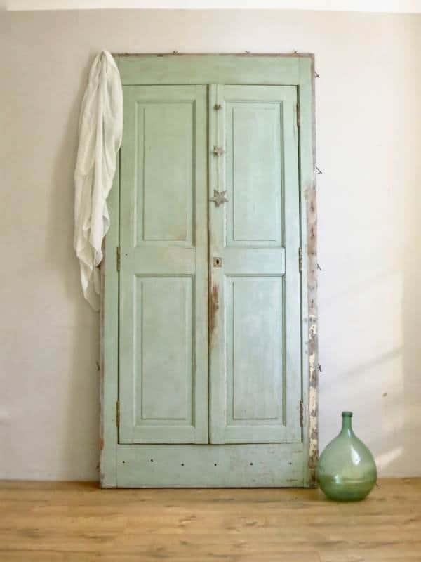 Porte ancienne vert minth