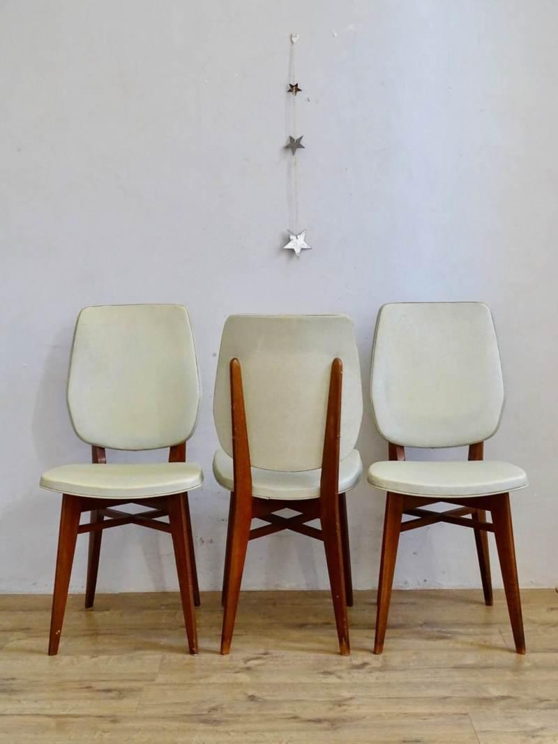Chaise pieds compas skai blanc