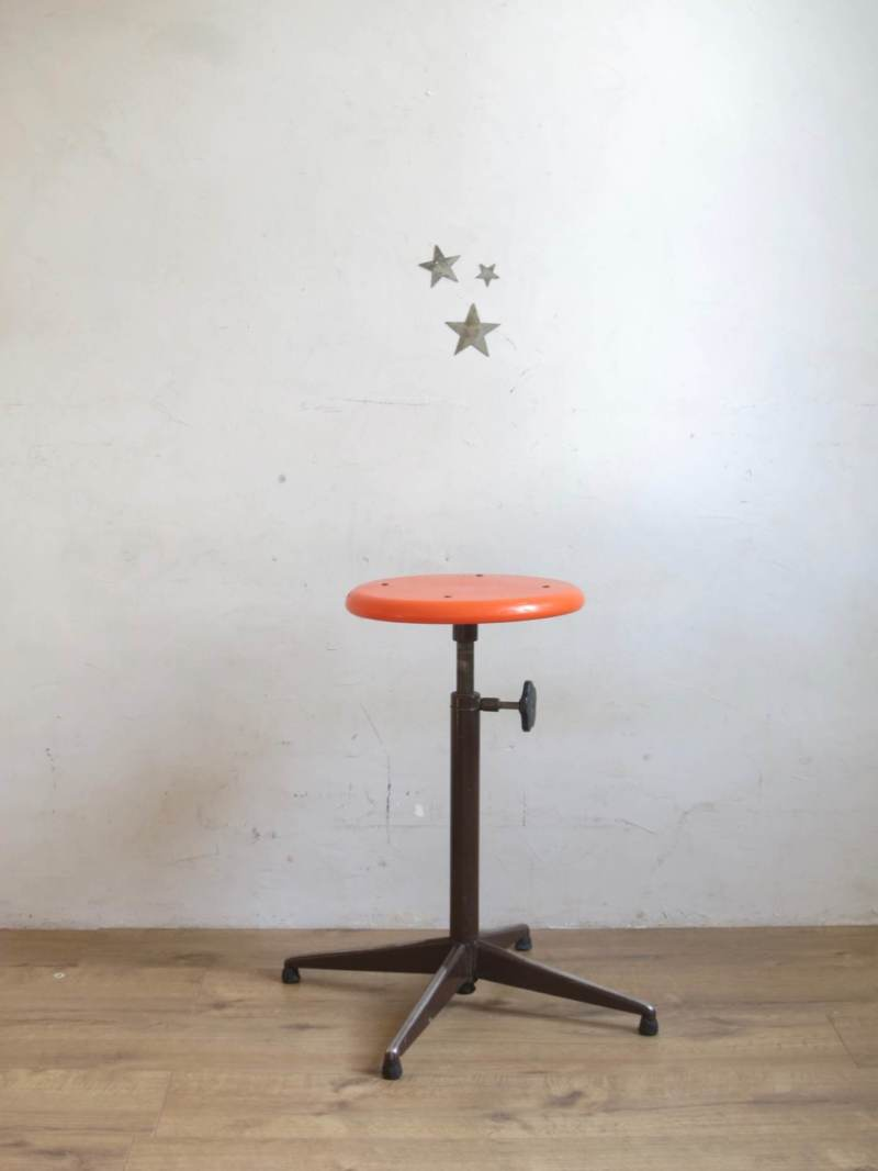 Tabouret industriel orange